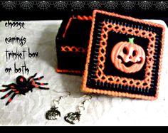 Pumpkin Earings N Trinket Box by ghostgap on Etsy