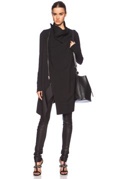 Rick Owens Exploder Saturn Wool Peacoat in Black