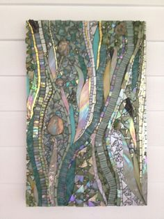 """The wind, the sands, and the surf"", a delightful design collaboration with #interior #designer, Barbara Hirsh of elza b design (all photo credits go to her). Two panels of custom #mosaic art, each measuring 13"" x 20"" in the decorators show house in kittery point, Maine thru August 15. Http://www.oldyork.org and http://www.mosaicsbyariel.con"