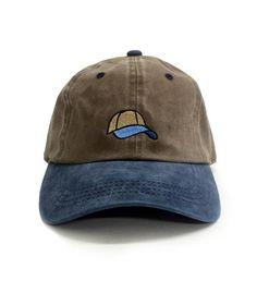 9de912c84c Two tone Tan   Blue 6-Panel Dad Hat 100% Cotton Adjustable strap Embroidered