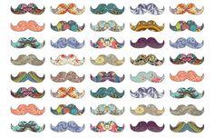 Monde Mosaic - Mustache Mania Art Print