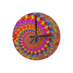 Hippy Fractal Pattern Pink Turquoise  Yellow Round Wall Clock
