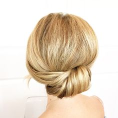 The back of @cometogetherevents hair for her black tie event last night! #lrtbepretty #bun #hotd #hair #updo #weddinghair