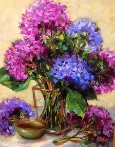 """Daily Paintworks - """"Fuschia Fantasy Hydrangeas by ..."""" by Nancy Medina"""