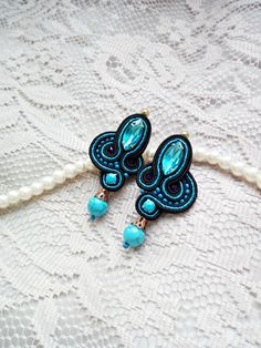 Blue black earrings Blue crystals stud earrings Soutache earrings Turquoise earrings Hand embroidered soutache earrings Unique gift for her https://www.etsy.com/ru/listing/493359764/blue-black-earrings-blue-crystals-stud?ref=shop_home_active_10