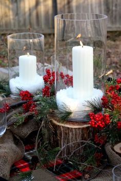 Cut tree trunks to use as candle bases.