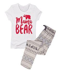 White 'Mama Bear' Pajama Set - Women #zulily #zulilyfinds