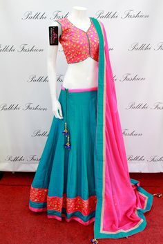 PalkhiFashion Exclusive Teal Blue Silk Full Flair Chaniya Choli with Handworked  Blouse and Duppata.