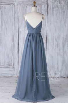 2ab66559157e Bridesmaid Dress Dark Steel Blue Chiffon Dress Wedding Dress Spaghetti  Strap Prom Dress Ruched V Neck Maxi Dress A Line Party Dress(H505A)