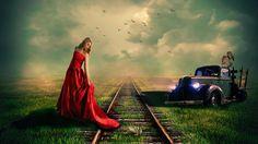 Žena, Fantazie, Koláž, Staré, Auto