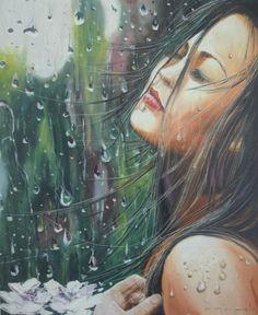 Oil Paint Romantic Series (Yağlıboya Romantic Seri) Romantic Series, Rain Art, Artist, Painting, Rain Fall, Painted Canvas, Artists, Painting Art, Paintings