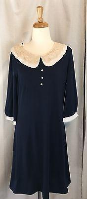 Allegra K Vintage inspired Women's  Navy Blue Dress Crochet Collar Size L~B1