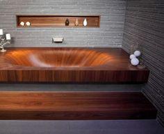 wooden bathtub...love.