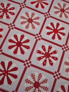 Schön, Dresden Plate mit einem weißen Zwischenstück Dresden Plate Patterns, Dresden Plate Quilts, Quilt Patterns, Block Patterns, Quilting Projects, Quilting Designs, Quilting Ideas, Two Color Quilts, Red And White Quilts