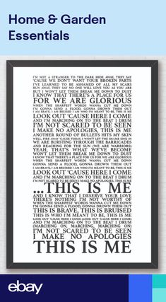 This Is Me Full Version - The Greatest Showman Song Lyrics A4 Typography Print