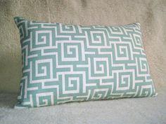 Maze Greek Key Pillow  Mineral  Aqua  12x18 inch  by WillaSkyeHome, $32.00
