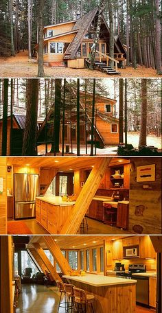 Saddlebag additions were added to a double A-frame (originally designed by John Rauma) to expand eating, cooking, sleeping and bathing accommodations. Cabin Homes, Log Homes, A Frame Cabin Plans, Cabana, Cabins And Cottages, Tiny House Design, Little Houses, Cozy House, Future House