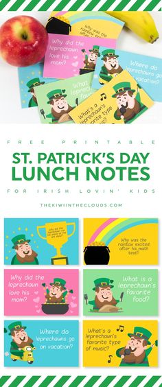 st patricks day kids   lunch box notes   free printables