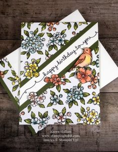 bird ballad dsp, free as a bird stamp set, birthday card idea, stampin up, karen… – Birthday Happpy Birthday, Happy Birthday Cards, Birthday Greetings, Birthday Wishes, Homemade Birthday Cards, Homemade Cards, Flower Cards, Butterfly Cards, Fancy Fold Cards