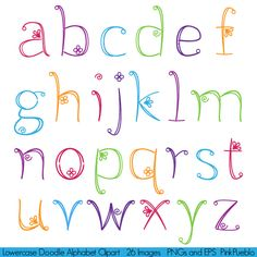 Doodle Alphabet, Hand Drawn Girly Font, Lowercase - Commercial and Personal Use. $6.00, via Etsy.