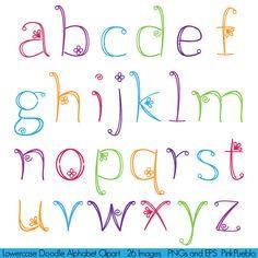 Doodle Alphabet polices Girly dessinés à la main par PinkPueblo