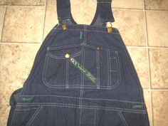 Vintage KEY IMPERIAL Dark Denim Button Fly Carpenter Overalls Bib Work USA NEW  #keyimperial #Overalls