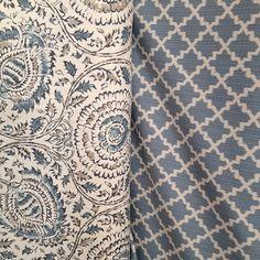 Mist on the vine and blue diamond fabric