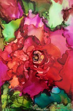 """Rose -Alcohol Ink on Yupo 4"""" x 6"""" by unknown artist mas, pode ser feito também em aquarela."""