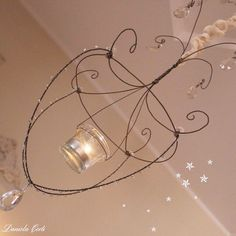Handmade wire chandelier with vintage cristal drops