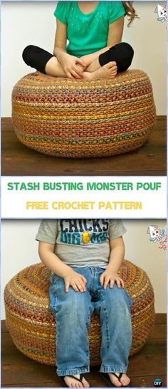 Crochet Stash Busting Monster Pouf Free Pattern-  #Crochet #Poufs & Ottoman Free Patterns