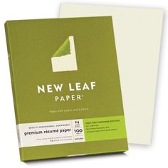 $15.85 New Leaf Paper Premium Resume Paper (Natural) sold by Southworth. This fine quality environmentally friendly paper made from 100% post-consumer waste will showcase your credentials professionally at interviews or when mailed in the matching envelope. Laser, inkjet and copier guaranteed. Processed chlorine free. FSC Certified. Manufactured with electricity that is offset with renewable energy certificates. 24 lb, natural, 100 ct.