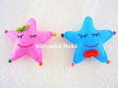 ♥ Tiryaki Hobi ♥: Keçe bebek şekeri / doğumgünü magneti - yıldız