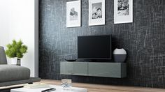 Concept Muebles Seattle Floating TV Cabinet – TV Stand with High Gloss Fronts - Seattle Hanging TV Console (Small, Grey & White) Floating Wall Unit, Floating Tv Cabinet, Floating Tv Stand, Floating Entertainment Unit, Entertainment Center, Tv Stand High Gloss, Hanging Tv, Tv Stand Cabinet, Cheap Furniture Online