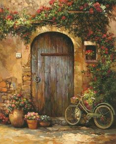 Paul Guy Gantner image by maat-nefer - Photobucket Rose, Painting, Cards, Pink, Roses Beautiful Places, Beautiful Pictures, Old Doors, Front Doors, Painted Doors, Pictures To Paint, Beautiful Paintings, Painting Inspiration, Landscape Paintings