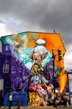 Huge Mural of a Graffiting Grandma in Montreal by A'shop