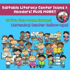 EDITABLE Literacy Centers!This literacy center kit with icons and headers will be sure to complete any primary classroom. The icons can be used in a pocket chart to alert kids where they are to go during each rotation. The headers can be placed at the area where the children can find the materials and the center itself.