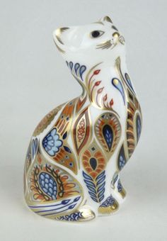 Royal Crown Derby ~ Porcelain figural sitting cat ~ Aprox. 3 1/2 inches long