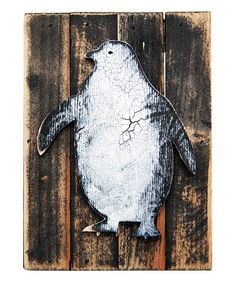 Another great find on #zulily! Black & White Penguin Rustic Wooden Block Plaque #zulilyfinds