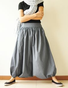All Around The World Part II.. Charcoal Grey Cotton Harem Pants 2 Sizes Available. $36.50, via Etsy.