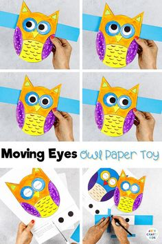 Craft meets play with this adorable Moving Eyes Owl Craft for kids. A lovely Autumn craft where Children can practice their fine motor skills with cutting and sticking, and use their imaginations to explore color and texture with paints. And as the finished craft is so tactile and interactive, kids will have a great time playing with their creation afterwards, too. Easy Fall Crafts for Kids Autumn | Moving Crafts for kids | Paper Owl Crafts for Kids #FallCrafts #KidsCrafts