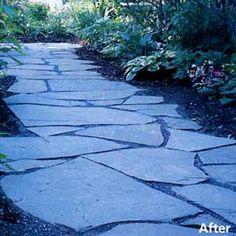 Turn a muddy narrow side yard into an inviting passageway Paver Stone Patio, Paver Stones, Garden Stepping Stones, Stone Walkways, Flagstone Path, Driveways, Diy Patio, Backyard Patio, Backyard Landscaping