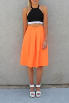 All Class Skirt Orange This ALL CLASS SKIRT is super classy and is ideal with a crop.  Dressed up for the Races or dressed down for the weekend.   CHANELLE IS WEARING A SIZE 6. She is 177cm tall. $49 SHOP: http://www.jeanjail.com.au/ladies/all-class-skirt-orange.html