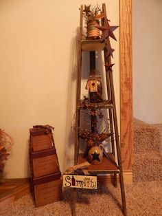 Tobacco stick shelf with primitive decorations