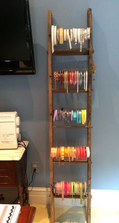 45 Organization Hacks To Transform Your Craft Room - Display your ribbon collection on an old ladder. Sewing Room Organization, Craft Room Storage, Organization Hacks, Storage Ideas, Storage Solutions, Ribbon Organization, Craft Rooms, Ribbon Display, Ribbon Storage
