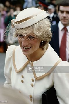 Princess Diana, wearing a Catherine Walker outfit and John Boyd hat, during a visit to Canterbury, May 1983. (Photo by Jayne Fincher/Getty Images)