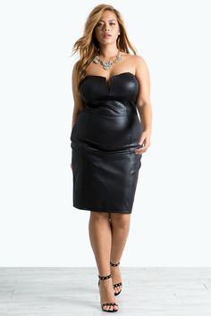 Women's Plus Size Bodycon Dresses | Draya Coated Bustier Dress | A'GACI