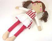 little rag doll girl red . white