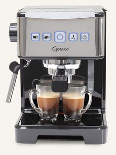 Capresso 12401 Ultima PRO Programmable Espresso and Cappuccino Machine with 2 Cup and Saucers 3 oz Stainless Steel Frothing Pitcher and Handheld Milk Frother Cappuccino Maker, Cappuccino Machine, Cappuccino Coffee, Espresso Maker, Coffee Maker, Coffee Club, Coffee Shops, Coffee Coffee, Folgers Coffee