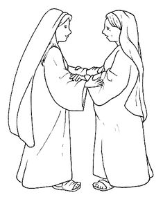 Luke 139 56 Mary Visited Elizabeth Mary Amp Elizabeth Coloring Page