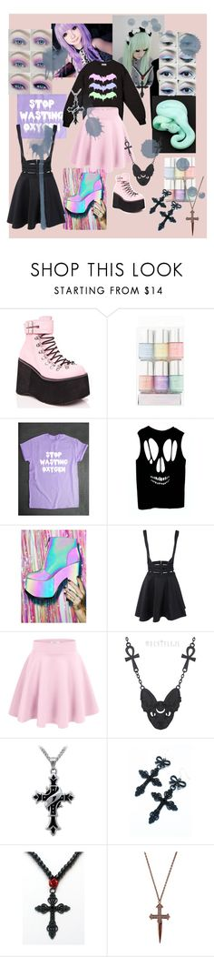 """Pastel Goth Again"" by perpendicularpurple ❤ liked on Polyvore featuring Demonia and Y.R.U."